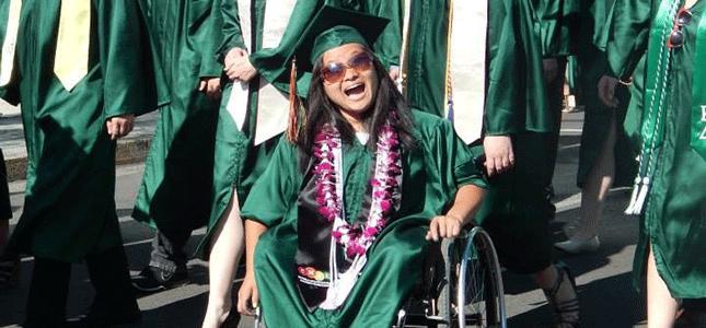 On her way to the UO's commencement